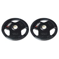 Body Power Rubber Enc Tri Grip OLYMPIC Weight Disc Plates - 15Kg (x2)