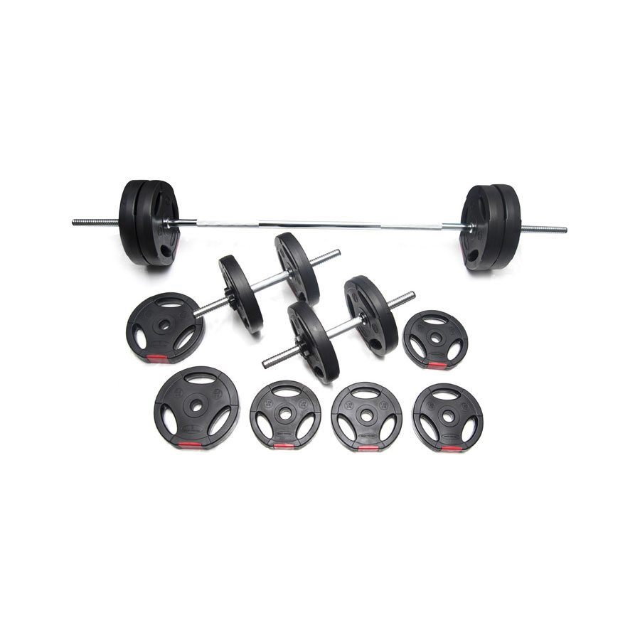 Body Power 42kg Tri-Grip Vinyl Weight Set