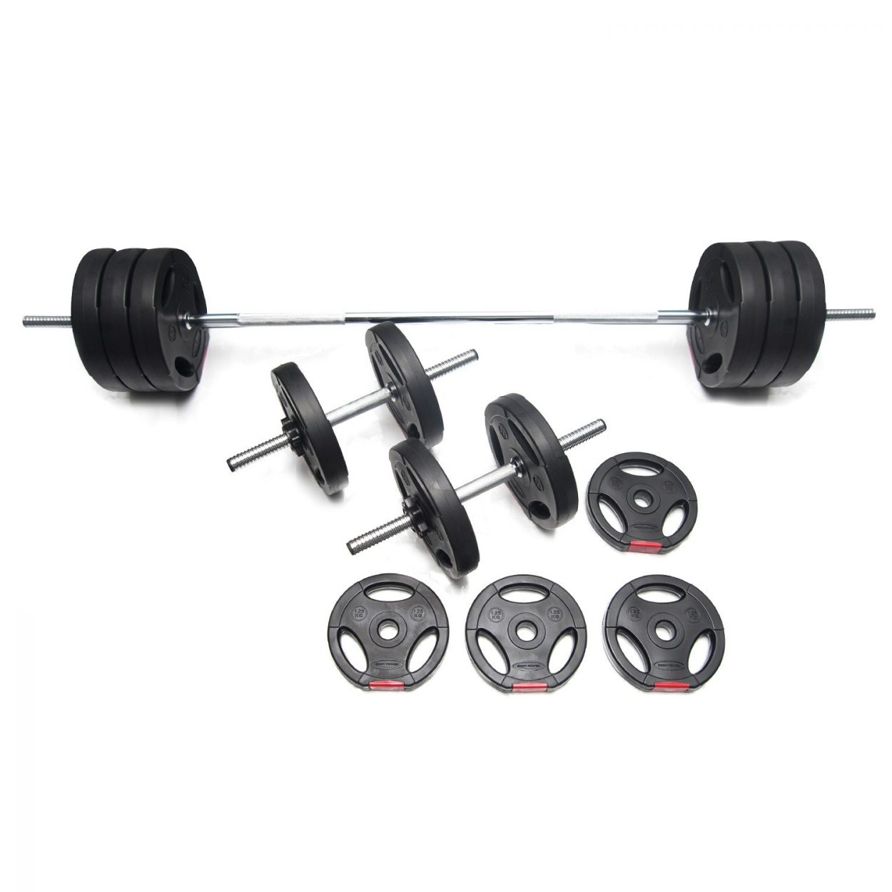 Body Power 47kg Tri-Grip Vinyl Weight Set