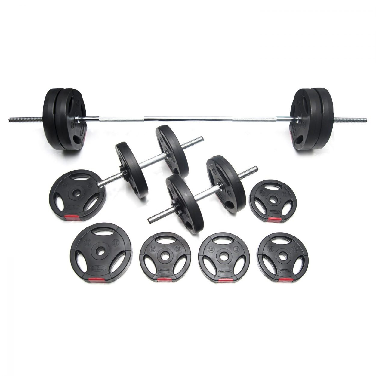 Body Power 42kg Tri-Grip Vinyl Weight Set with 2 Piece Bar