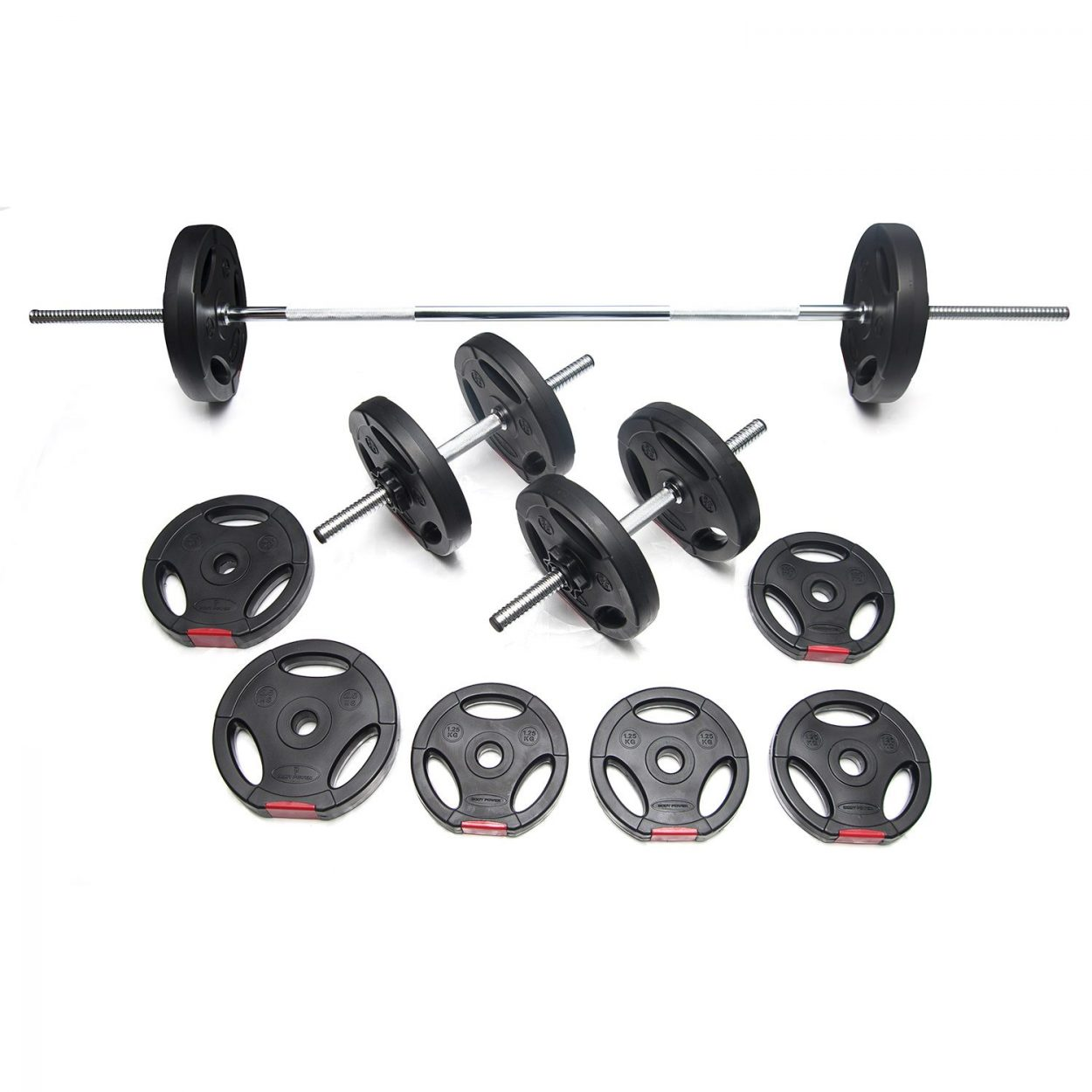 Body Power 32kg Tri-Grip Vinyl Weight Set with 2 Piece Bar
