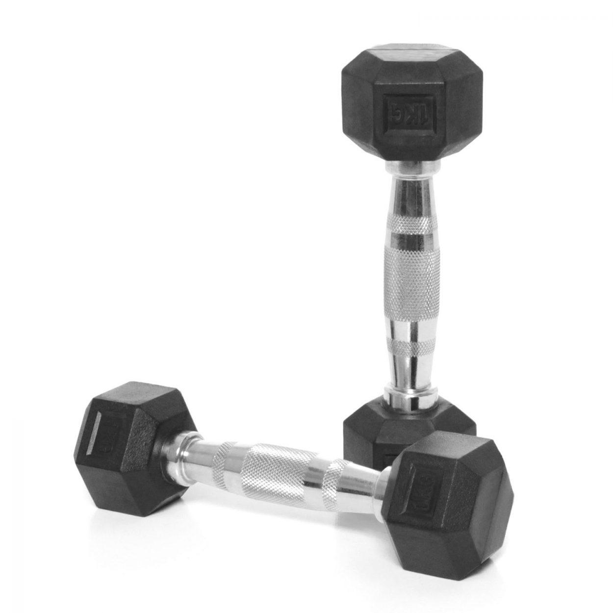 Body Power Rubber Hex Ergo Dumbbells – 1Kg (x2)