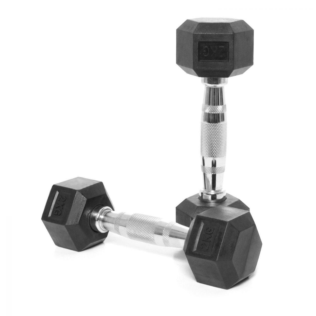Body Power Rubber Hex Ergo Dumbbells – 2Kg (x2)