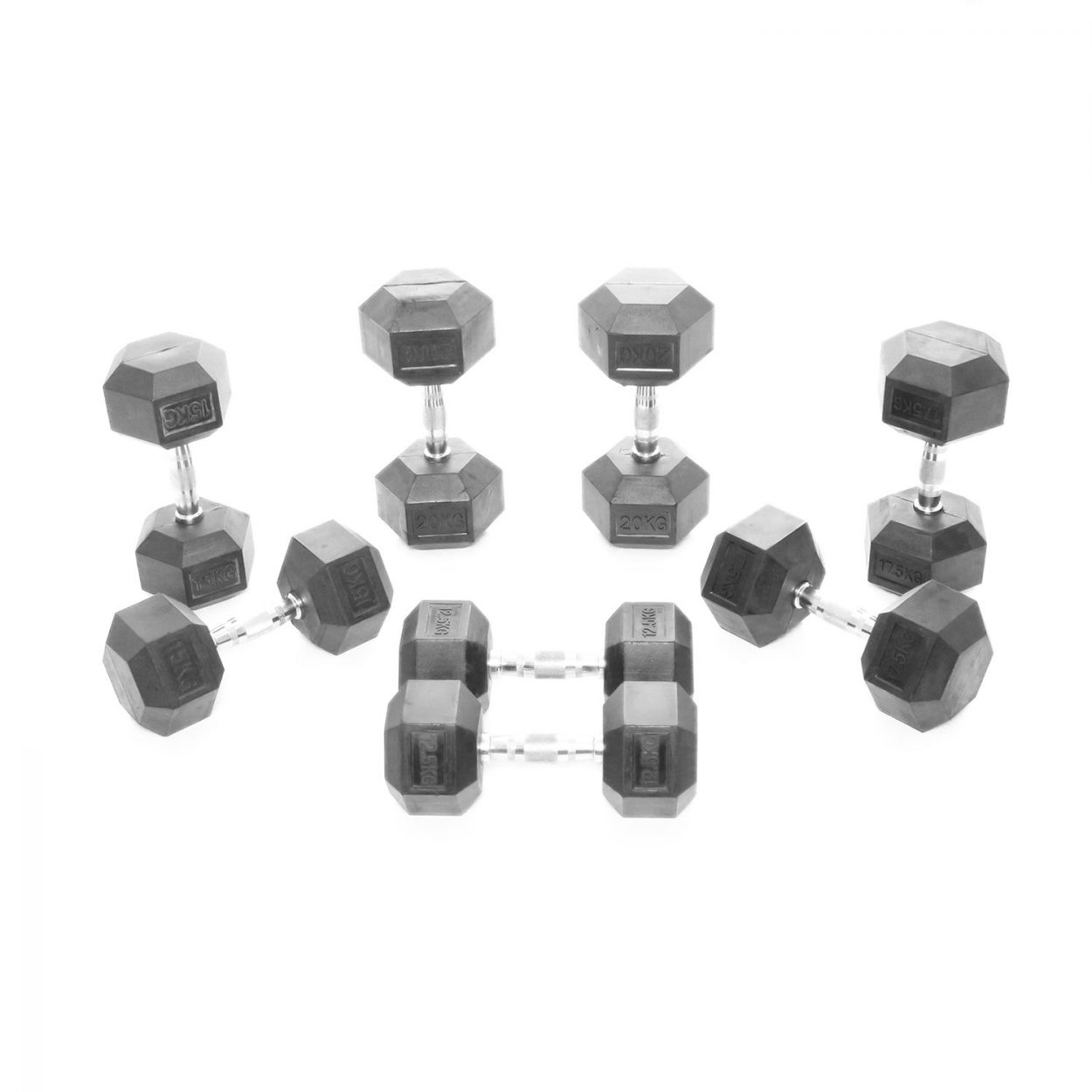 Body Power Rubber Hex Dumbbell Weight Set – 12.5 – 20Kg