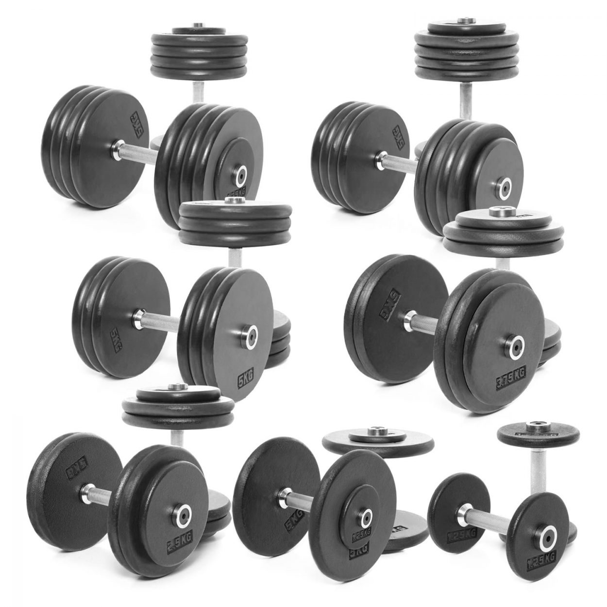 Body Power Pro-style Dumbbells Weight Set D: 2.5-45kg (18 Pairs)
