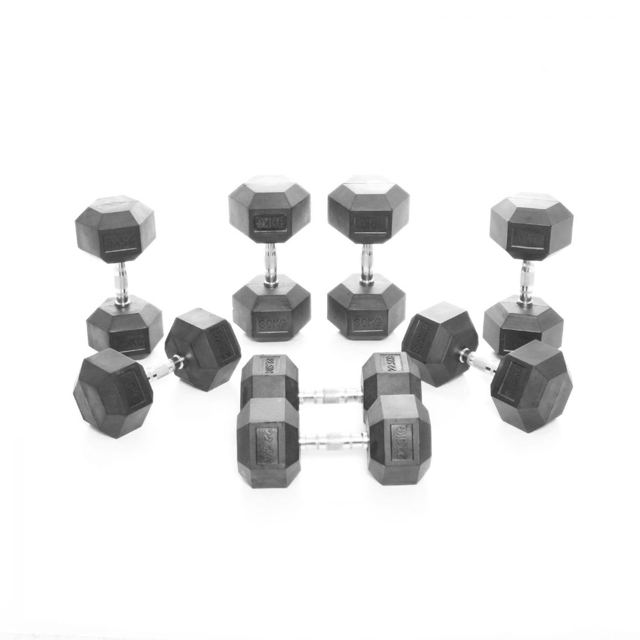 Body Power 22.5-30Kg Rubber Hex Dumbbell Weight Set