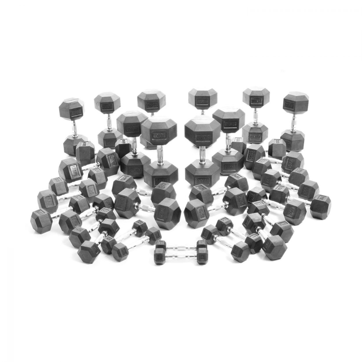Body Power 1-30Kg Rubber Hex Dumbbell Weight Set