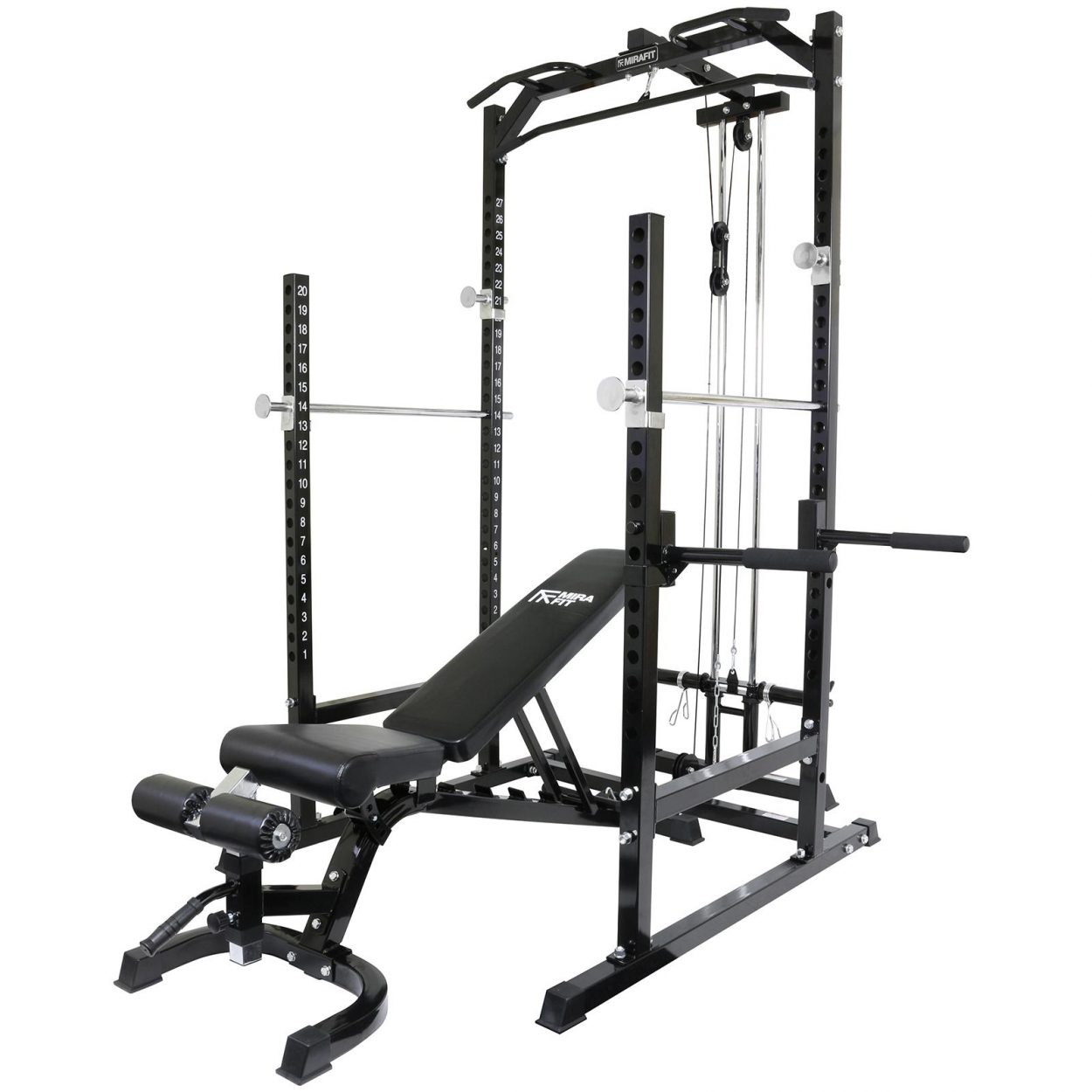 Mirafit Half Power Rack with Cable System & Adjustable Weight Bench
