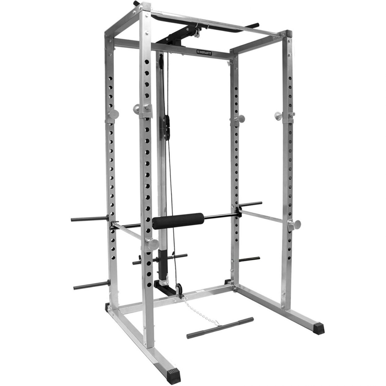 Mirafit 250kg Power Cage with Cable System – Silver/Black