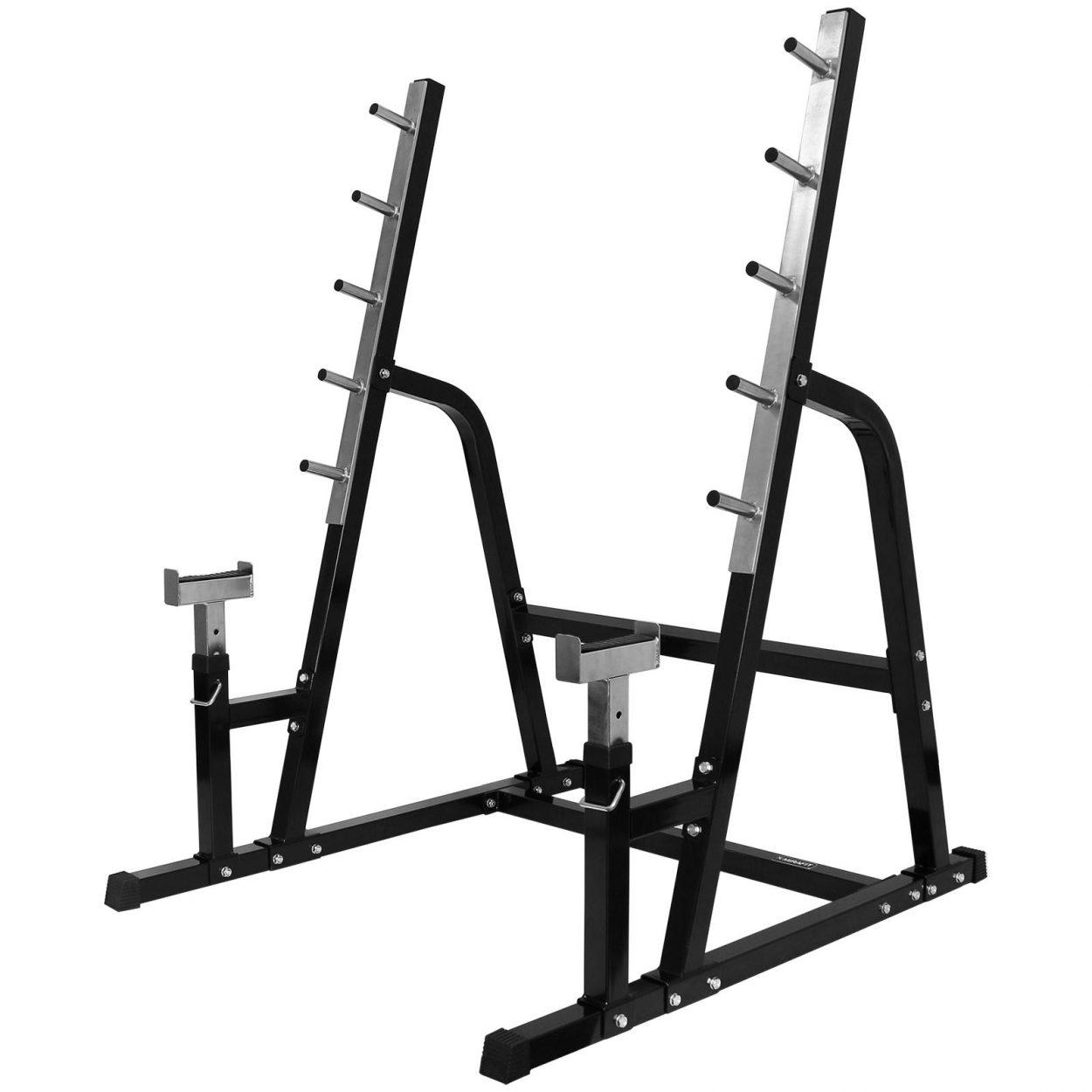 Mirafit M1 Multi Use Weight Lifting Rack – Black/Stainless Steel