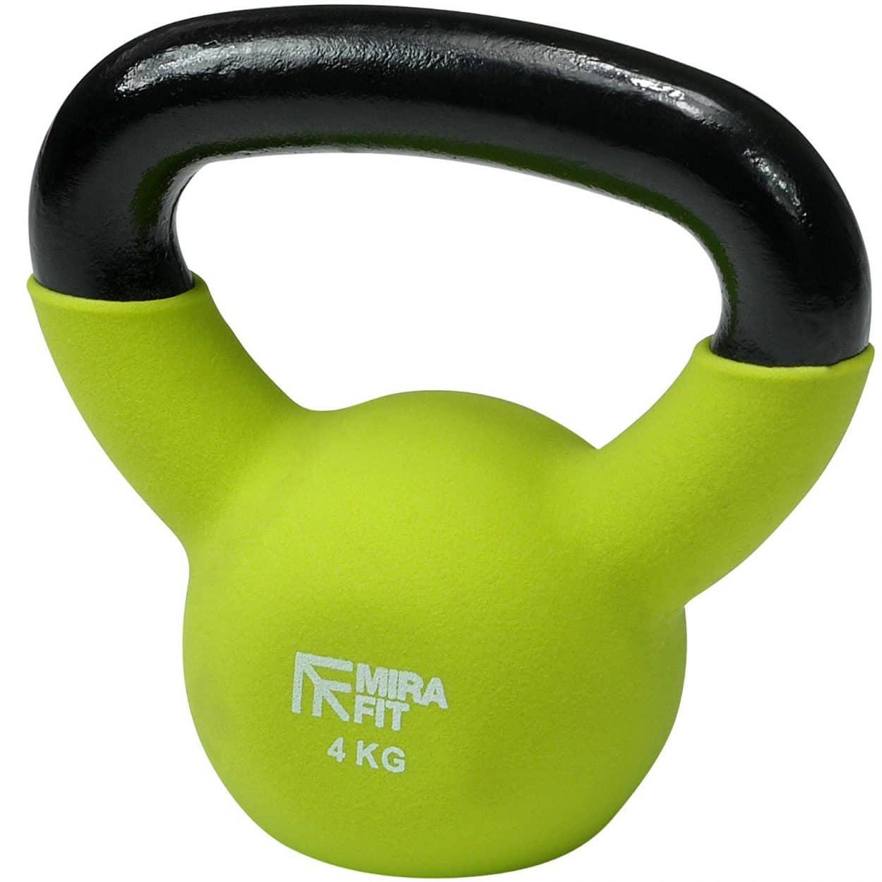 Mirafit Soft Touch Cast Iron Kettlebell Weight – Green – 4kg