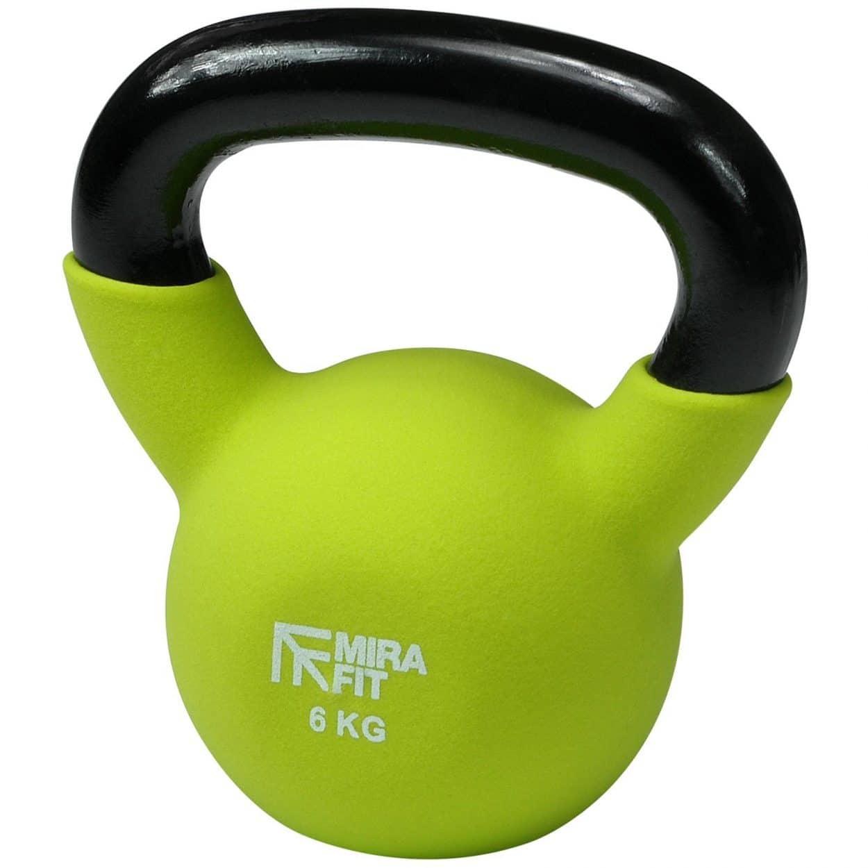 Mirafit Soft Touch Cast Iron Kettlebell Weight – Green – 6kg