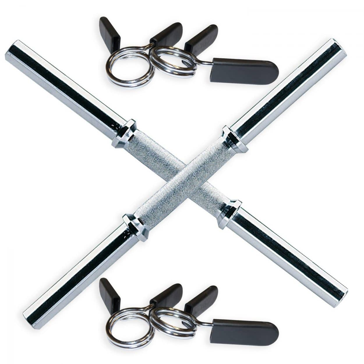 Body Power Solid 18 Standard Dumbbell Handles (x2) with Spring Collars