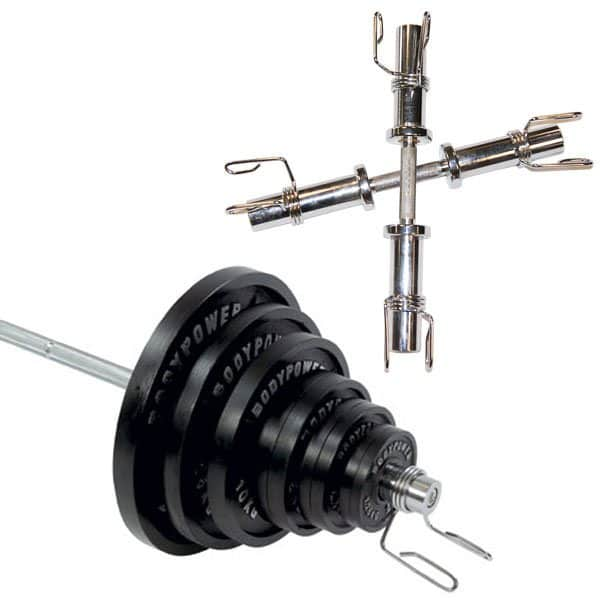 Body Power 155 Kg Olympic Weight Set & Olympic Dumbbell handles